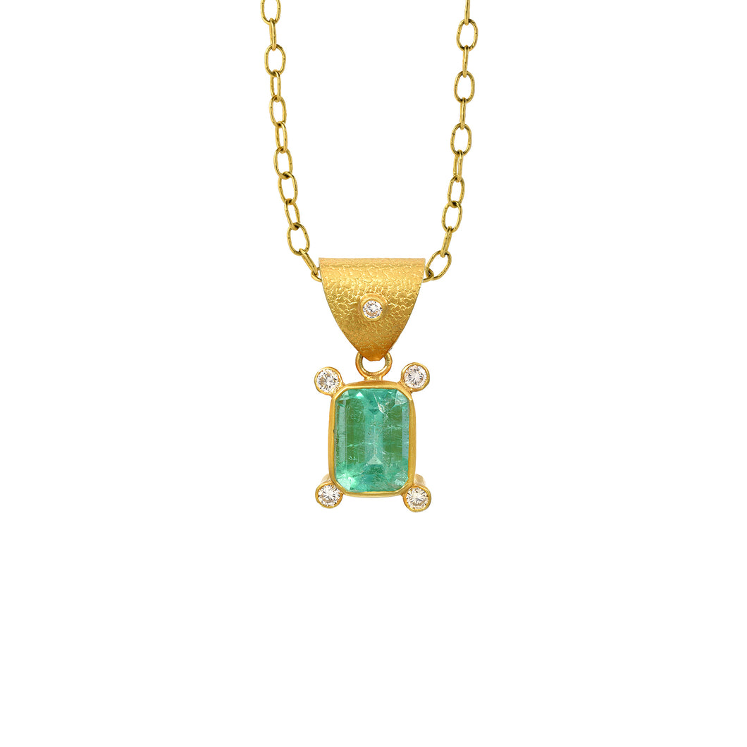 Colombian emerald + diamond pendant