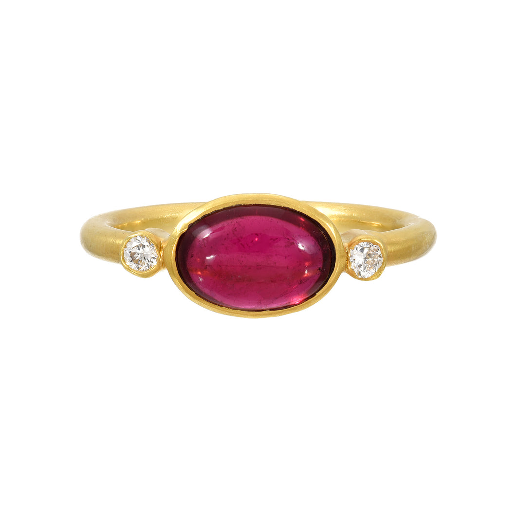 pink tourmaline + diamond ring