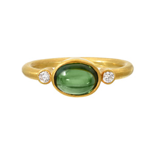 green tourmaline + diamond ring