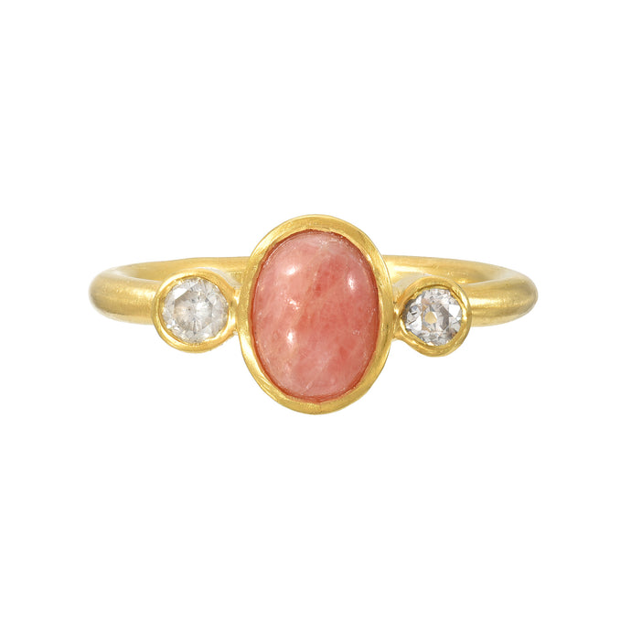rhodochrosite + diamond ring