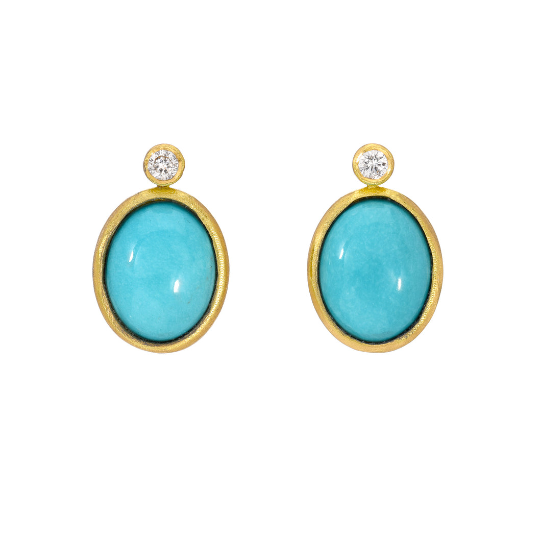 turquoise + diamond stud earrings <br><i>Sleeping Beauty Mine</i></br>