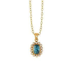 blue zircon & diamond cluster pendant