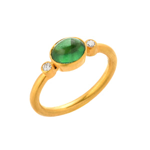 emerald + diamond ring