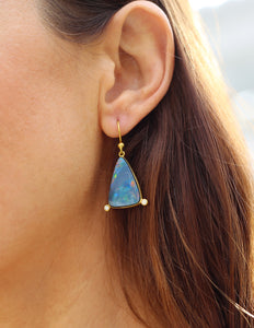 Australian opal + diamond earrings