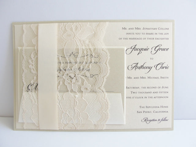 Lace and Ribbon Wedding Invitations