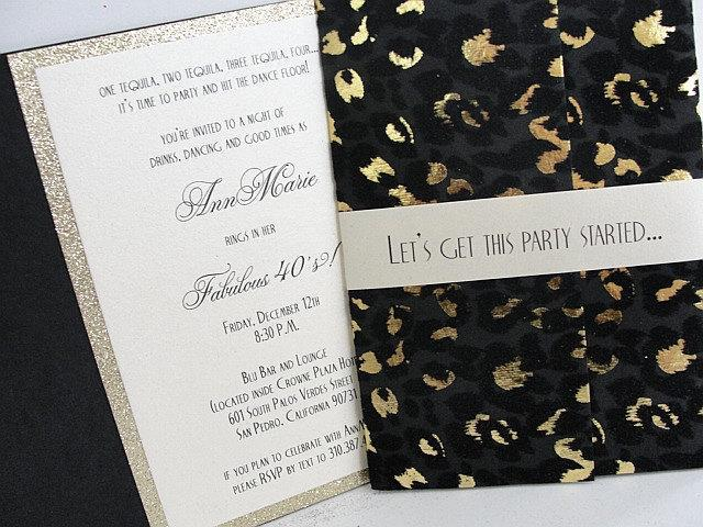 Bachelorette Invitation Party Birthday 40th Invite Leopard Print