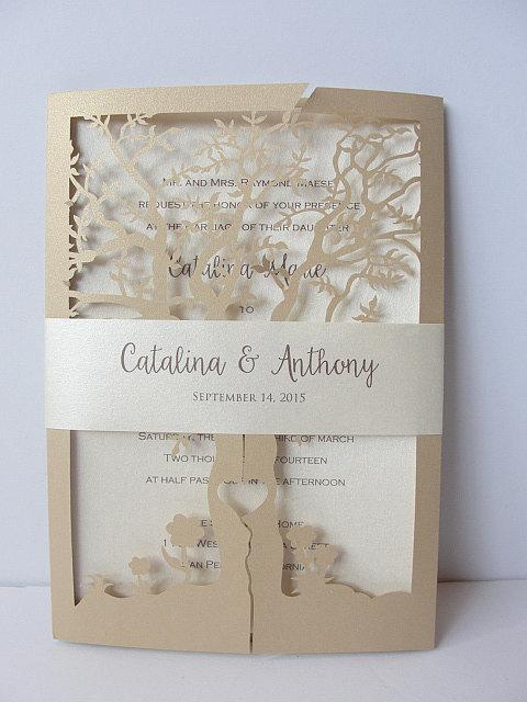 Fall Wedding Invitation, Laser Cut Tree Wedding Invitation, Tree Wedding Invite, Rustic Wedding Invitation, Autumn Wedding TREE - 1 GOLD