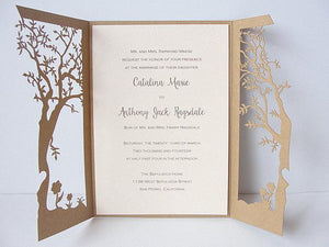 Fall Wedding Invitation, Laser Cut Tree Wedding Invitation, Tree Wedding Invite, Rustic Wedding Invitation, Autumn Wedding TREE - 1 KRAFT