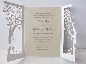 Fall Wedding Invitation, Laser Cut Tree Wedding Invitation, Tree Wedding Invite, Rustic Wedding Invitation, Autumn Wedding TREE - 1 WHITE