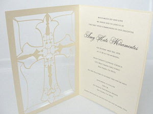 First Holy Communion Invitation, Confirmation Invitation, Baptism Invitation, Christening Invitation, Cross Invitation, CROSS IVORY