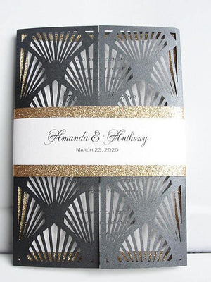 Gatsby Wedding Invitation, Great Gatsby Wedding Invite, Art Deco Wedding, Laser Cut Wedding Invitation, Old Hollywood Invite, GREAT GATSBY
