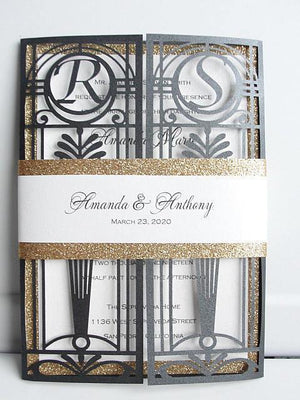 Gatsby Wedding Invitation, Great Gatsby Wedding Invite, Art Deco Wedding, Laser Cut Wedding Invitation, Old Hollywood Invite, OLD HOLLYWOOD