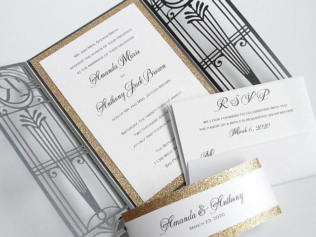 Art Deco Wedding Invitations.Old Hollywood 7 25