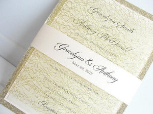 Glitter Invitation, Wedding Invitation, Elegant Wedding Invitation, Rustic Wedding Invitation, Gold Wedding Invitation, MESH GLITTER-TRIPLE