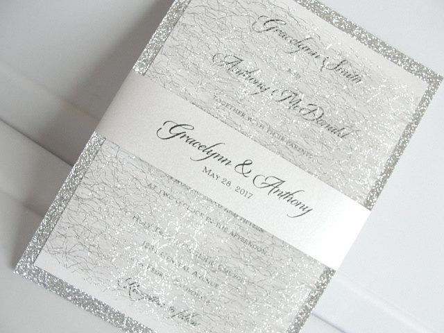 Glitter Invitation, Wedding Invitation, Elegant Wedding Invitation, Rustic Wedding Invitation, Silver Wedding Invitation,MESH GLITTER-DOUBLE