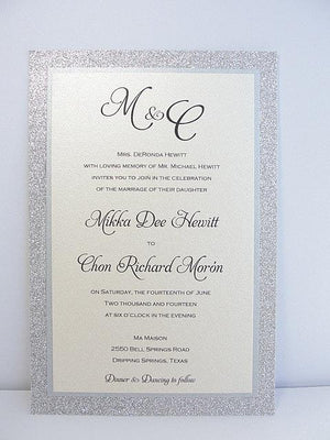 Glitter Invitation, Wedding Invitation, Elegant Wedding Invitation, Rustic Wedding Invitation, Vintage Wedding Invitation, Silver Invite UMA