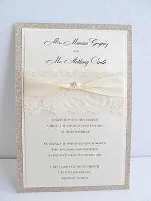 Glitter Invitation, Wedding Invitation, Elegant Wedding Invitation, Rustic Wedding Invitation, Vintage Wedding Invitation,COCO-KNOT VERTICAL