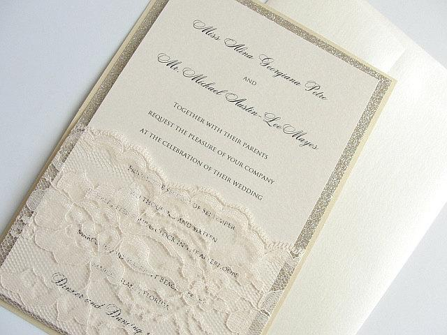 Glitter Invitation, Wedding Invitation, Elegant Wedding Invitation, Rustic Wedding Invitation, Vintage Wedding Invitation,Gold Wedding, LALA