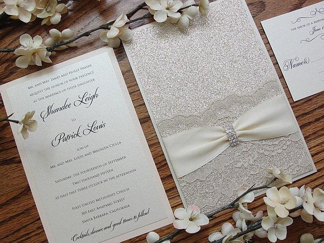 Glitter Invitation, Wedding Invitation, Elegant Wedding Invitation, Rustic Wedding Invitation, Vintage Wedding Invitation,LALA - EMBELLISHED