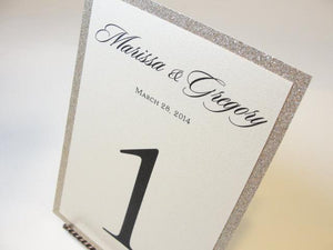 Glitter Table Number Cards, by Lavender Paperie on Etsy