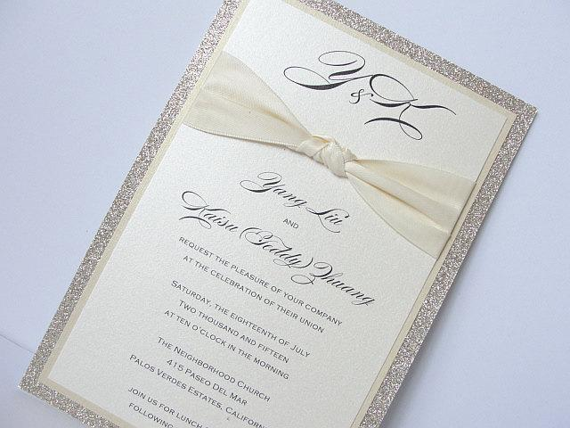 Glitter Wedding Invitation, Wedding Invitation, Elegant Wedding Invitation, Rustic Wedding Invitation, Vintage Wedding Invitation, ZAZA GOLD