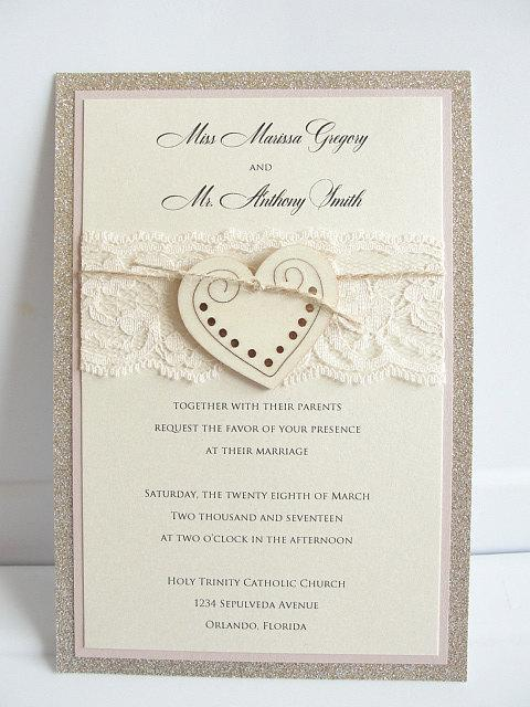 Heart Wedding Invitation, Glitter Invite, Wood Wedding Invitation, Rustic Wedding Invitation, Vintage Wedding Invitation,  HEART - GLITTER