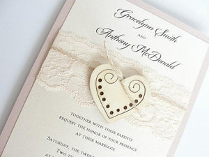 Heart Wedding Invitation, Glitter Invite, Wood Wedding Invitation, Rustic Wedding Invitation, Vintage Wedding Invitation,  WOODEN HEART