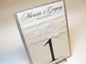 Lace and Glitter Table Number Cards, by Lavender Paperie on Etsy