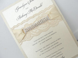 Lace Invitation, Glitter Wedding Invite, Lace Wedding Invite, Wedding Invitation, Lace Wedding, Glitzy Wedding Invite, GLAM 2 VERTICAL