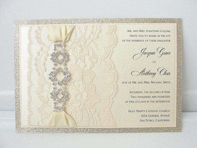Lace Invitation, Glitter Wedding Invite, Lace Wedding Invite, Wedding Invitation, Lace Wedding, Glitzy Wedding Invite, GLITZ 1 HORIZONTAL