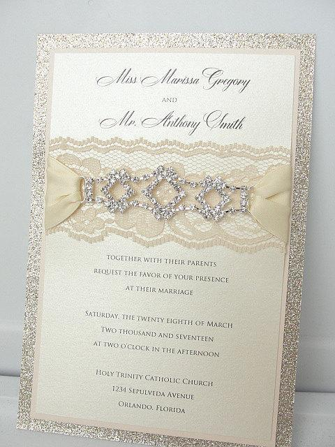 Lace Invitation, Glitter Wedding Invite, Lace Wedding Invite, Wedding Invitation, Lace Wedding, Glitzy Wedding Invite, GLITZ 1 VERTICAL