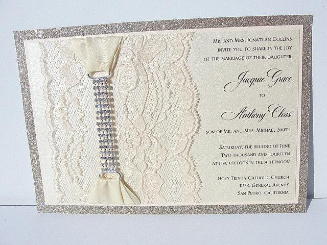 Lace Invitation, Glitter Wedding Invite, Lace Wedding Invite, Wedding Invitation, Lace Wedding, Glitzy Wedding Invite, GLITZ 2 HORIZONTAL