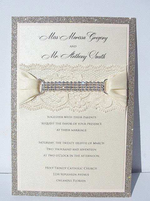 Lace Invitation, Glitter Wedding Invite, Lace Wedding Invite, Wedding Invitation, Lace Wedding, Glitzy Wedding Invite, GLITZ 2 VERTICAL