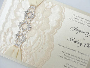 Lace Invitation, Lace Wedding Invite, Wedding Invitation, Lace Wedding, Glitzy Wedding Invite, GLAM 1 HORIZONTAL