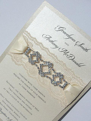 Lace Invitation, Lace Wedding Invite, Wedding Invitation, Lace Wedding, Glitzy Wedding Invite, GLAM 1 VERTICAL