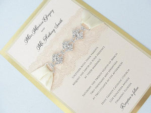 Lace Invitation, Wedding Invite, Lace Wedding Invite, Blush Pink Wedding Invitation, Lace Wedding, Romantic Wedding Invite, GLAM 3 VERTICAL