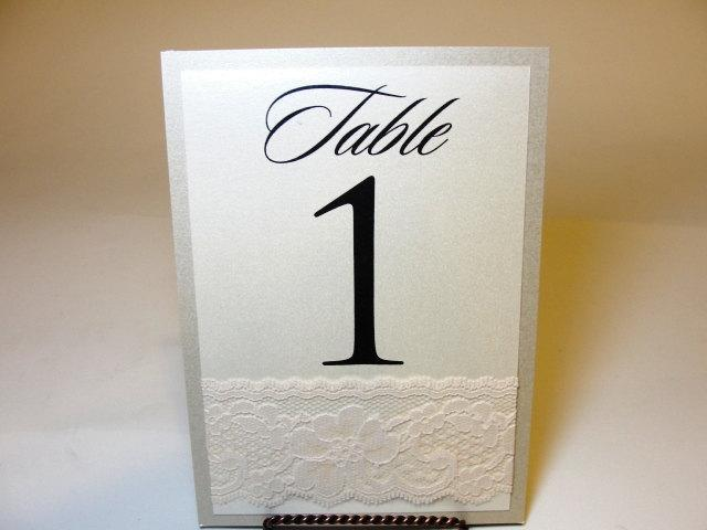 Lace Table Number Cards, by Lavender Paperie on Etsy