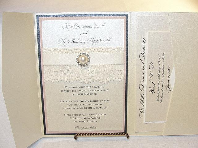 Lace Wedding Invitation, Lace Wedding Invite, Lace Invite, Lace Invitation, Pearl Invitation,  Pearl Wedding Invite, AVA - POCKETFOLD
