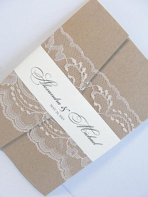 Lace Wedding Invitation, Lace Wedding Invite, Wedding Invitation, Vintage Wedding Invite,  Country Wedding, AMY-RUSTIC
