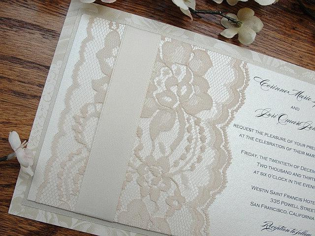 Lace Wedding Invitation, Lace Wedding Invite, Wedding Invitation, Wedding Invite, Lace Invite, Lace Invitation, Floral Invite MINA - FLAT