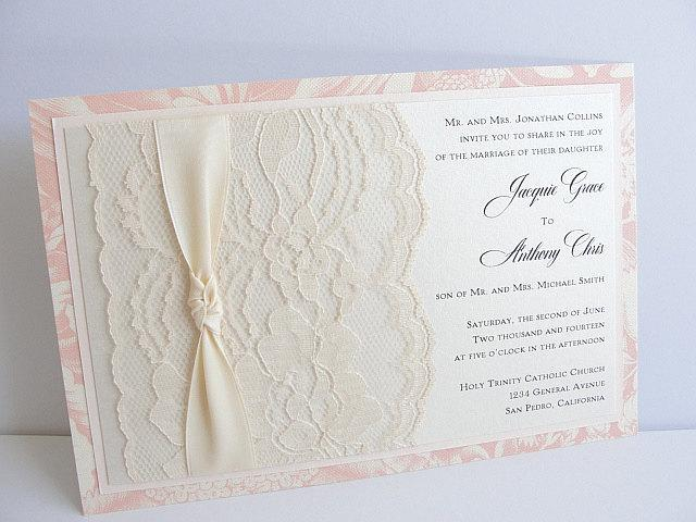 Lace Wedding Invitation, Lace Wedding Invite, Wedding Invitation, Wedding Invite, Lace Invite, Lace Invitation, Floral Invite MINA - KNOT