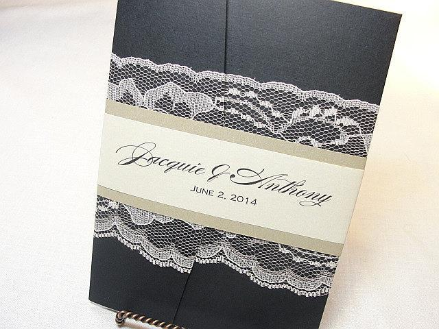 Lace Wedding Invitation, Lace Wedding Invite, Wedding Invitations, Vintage Wedding Invitation, Pocketfold Invite AMY - BAND BLACK
