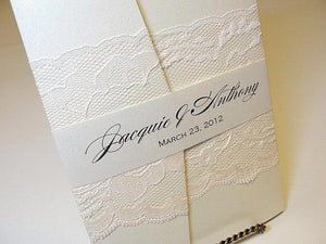 Lace Wedding Invitation, Lace Wedding Invite, Wedding Invitations, Vintage Wedding Invitation, Pocketfold Invite AMY - BAND HORIZONTAL