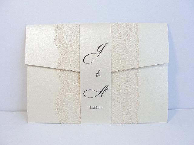 Lace Wedding Invitation, Lace Wedding Invite, Wedding Invitations, Vintage Wedding Invitation, Pocketfold Invite AMY - BAND VERTICAL