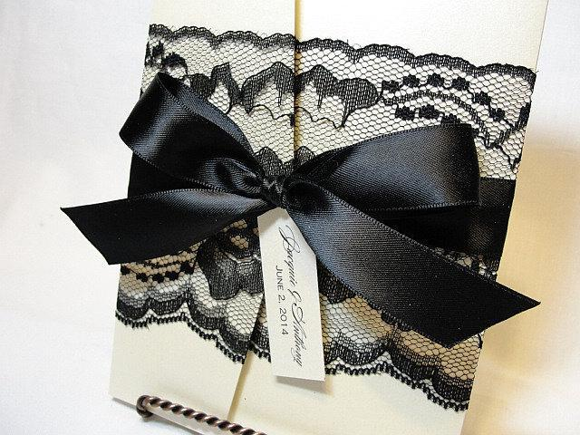 Lace Wedding Invitation, Lace Wedding Invite, Wedding Invitations, Vintage Wedding Invite, Pocketfold Invite AMY- BOW BLACK