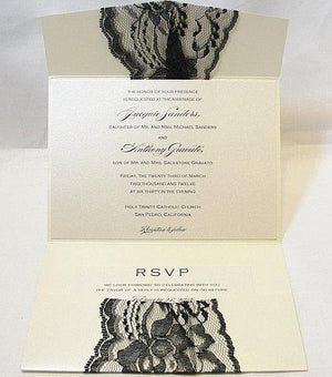 Lace Wedding Invitation, Lace Wedding Invite, Wedding Invitations, Vintage Wedding Invite, Rustic Invite  Pocketfold Invite KATE- BLACK