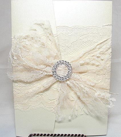 Lace Wedding Invitation, Lace Wedding Invite, Wedding Invitations, Vintage Wedding Invite,  Rustic invite,  Pocketfold Invite ROSIE-1