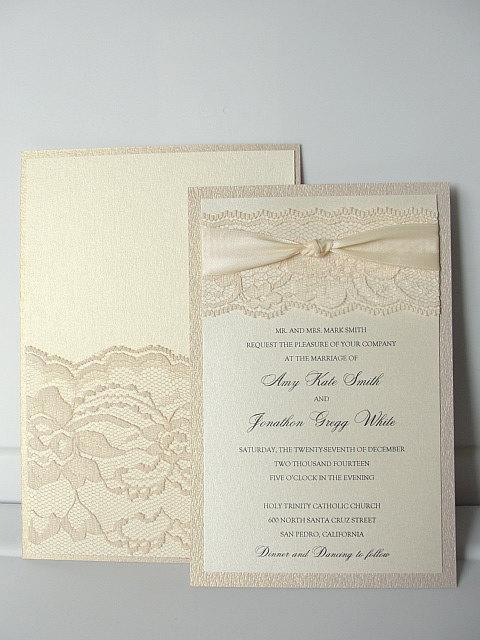 Lace Wedding Invitation, Lace Weddng Invite, Wedding Invitation, Blush Wedding Invite, Lace Invite, Lace Invitation, LACEY - DOUBLE W/POCKET