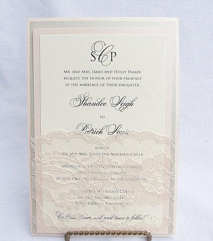 Lace Wedding Invitation, Lace Weddng Invite, Wedding Invitation, Wedding Invite, Lace Invite, Blush Invite, Lace Invitation LALA - SOLID