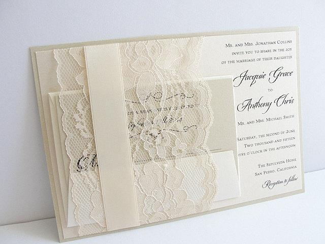 Lace Wedding Invitation, Lace Weddng Invite, Wedding Invitation, Wedding Invite, Lace Invite, Lace Invitation JANET - LATTE